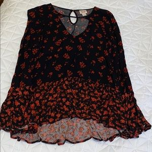 Mission Bell Sleeve Floral Blouse